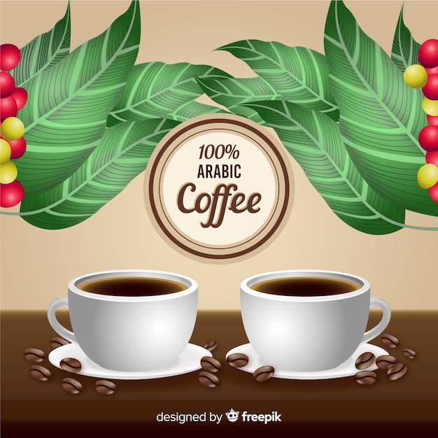 Realistische arabische koffieadvertentie in vintage stijl Gratis Vector