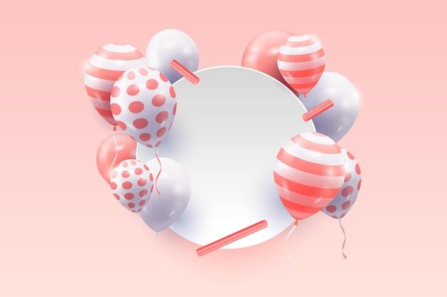 Realistische ballonnen met lege banner concept Gratis Vector