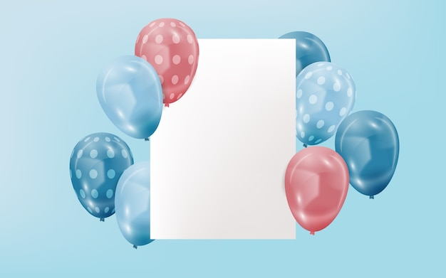 Realistische ballonnen met lege banner Gratis Vector
