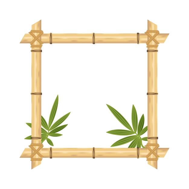 Realistische bamboe frame geïsoleerd op wit. vector illustraties. Premium Vector