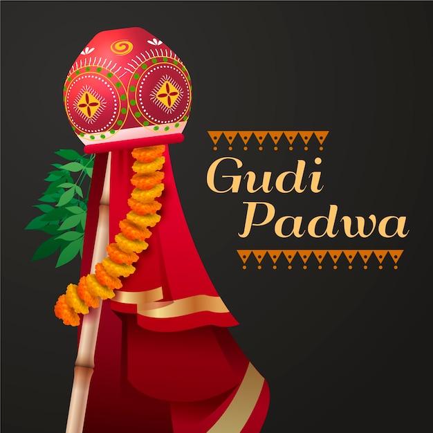 Realistische banner voor gudi padwa Gratis Vector