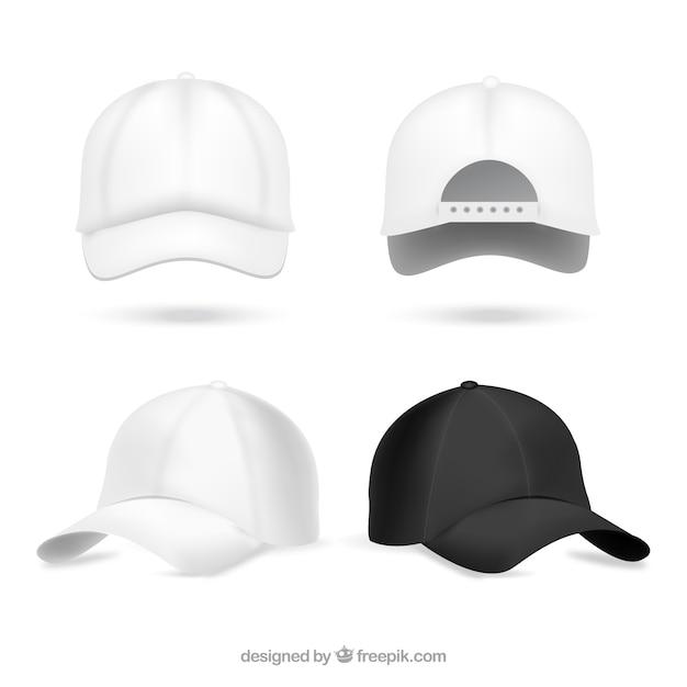 Realistische baseball caps Gratis Vector