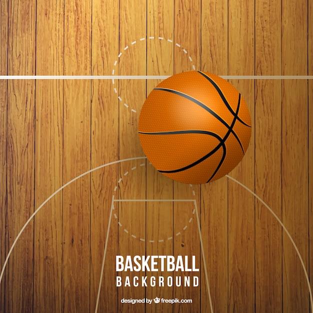 Realistische basketbalveld met bal Gratis Vector