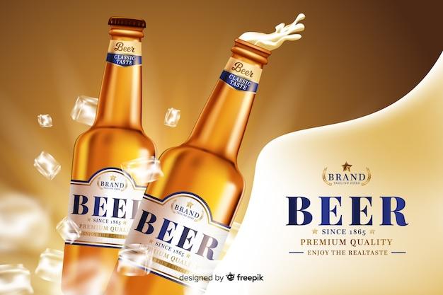 Realistische bierachtergrond Gratis Vector