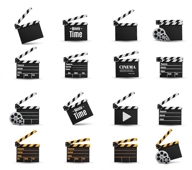 Realistische bioscoopklepperset Premium Vector