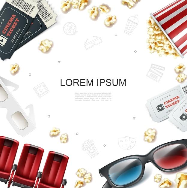Realistische bioscoopsjabloon met kaartjes rode zetels 3d-bril en popcorn in gestreepte emmer doos illustratie Premium Vector
