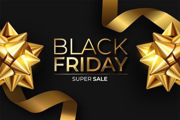 Realistische black friday-banner in zwart en goud Gratis Vector