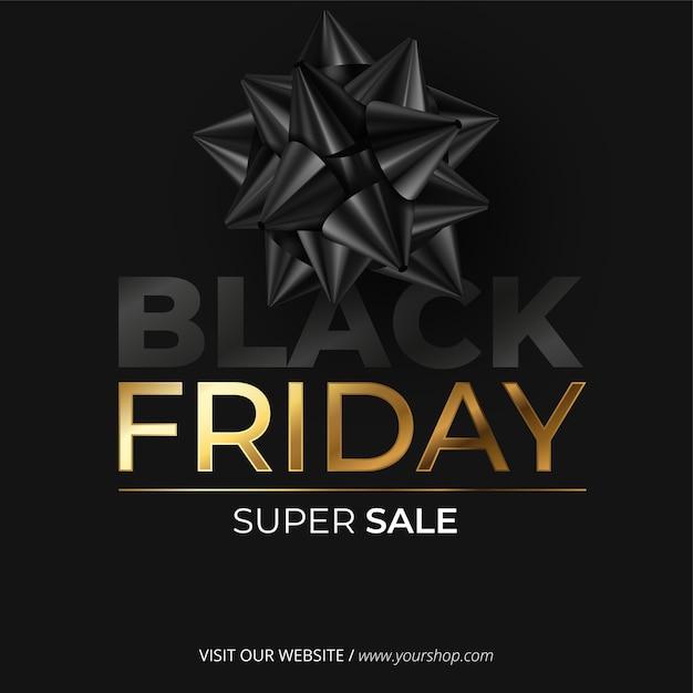 Realistische black friday-banner met strik Gratis Vector