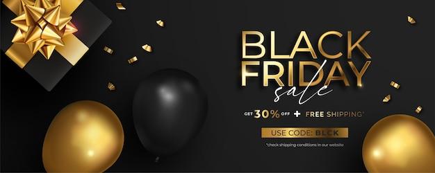 Realistische black friday-verkoopbanner in zwart en goud Gratis Vector