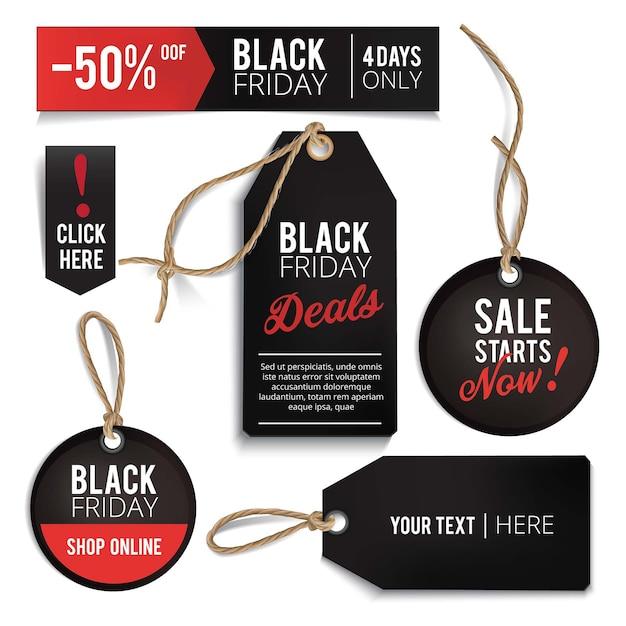 Realistische black friday-verkoopmarkeringen ingesteld. Premium Vector