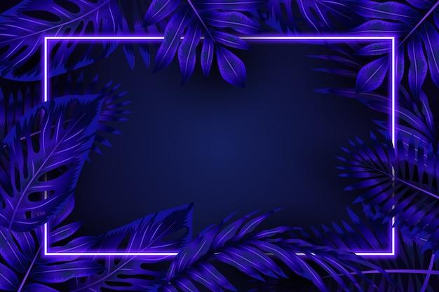 Realistische bladeren met blauw neonframe Gratis Vector