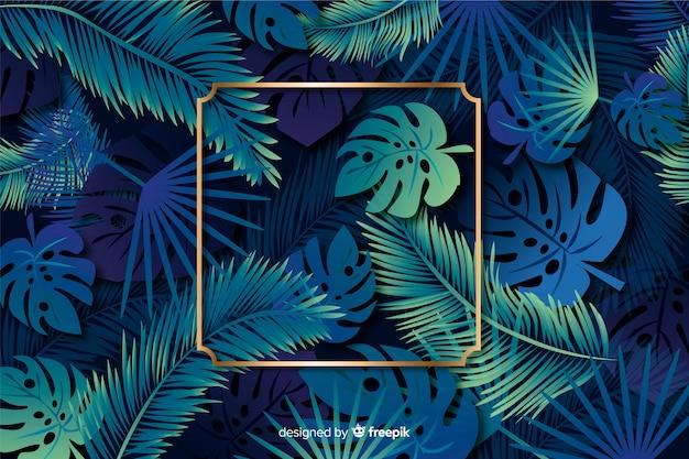 Realistische bladeren met gouden frame achtergrond Gratis Vector