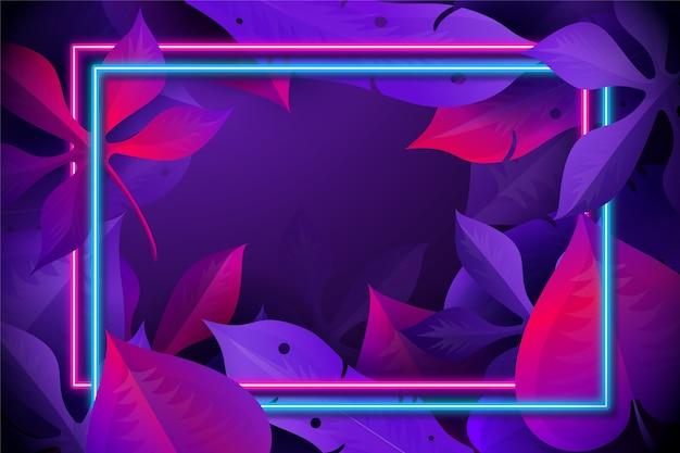 Realistische bladeren met neon frame Gratis Vector