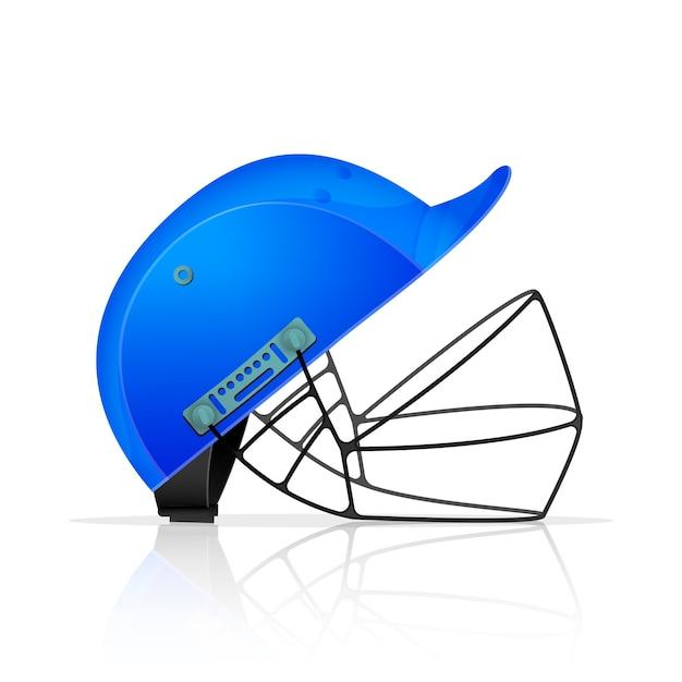 Realistische blauwe cricket helm op witte achtergrond. Premium Vector