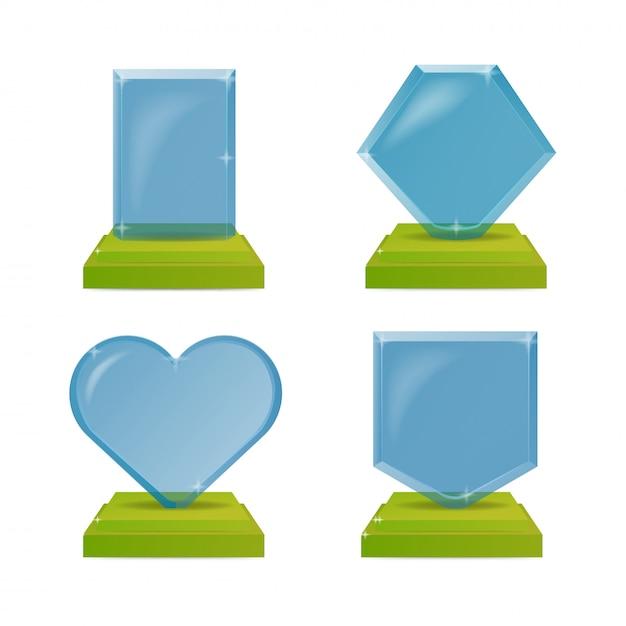 Realistische blauwe en groene glazen trofee awards. illustratie geïsoleerd Premium Vector