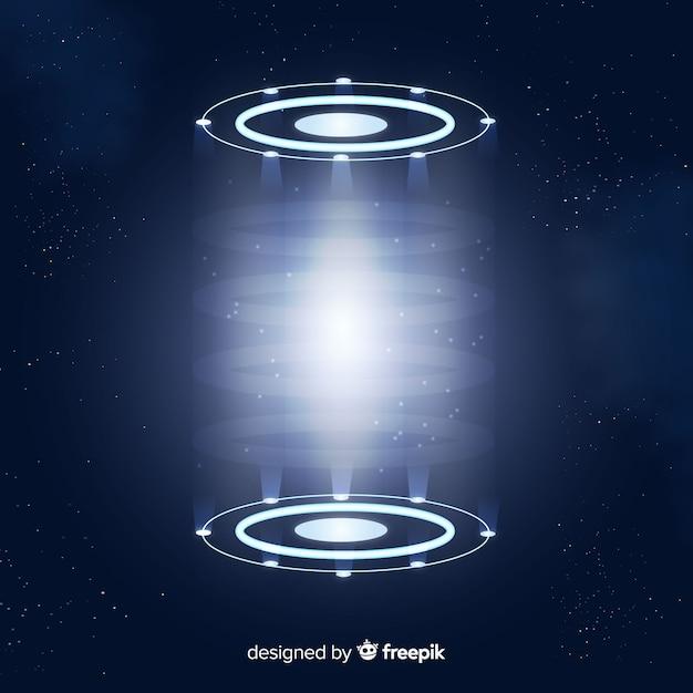 Realistische blauwe hologram portaal achtergrond Gratis Vector