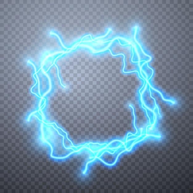 Realistische bliksemschichten met transparantie. digitaal effect van gloeien, elektrische ontlading, decoratie. Premium Vector