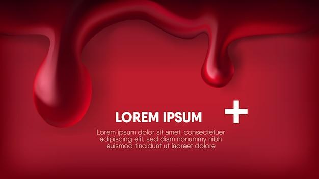 Realistische bloeddaling op rode achtergrond. Premium Vector