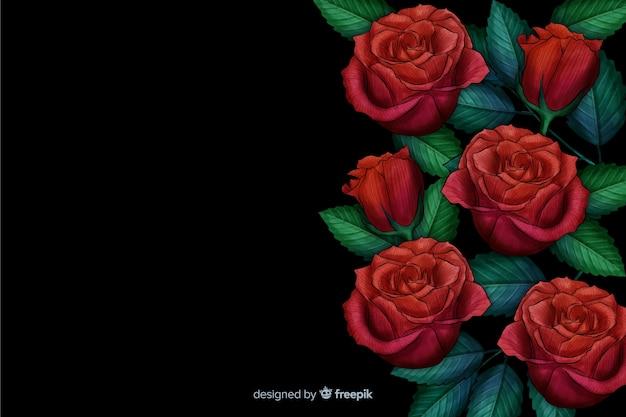 Realistische bloemen op een donkere achtergrond Gratis Vector
