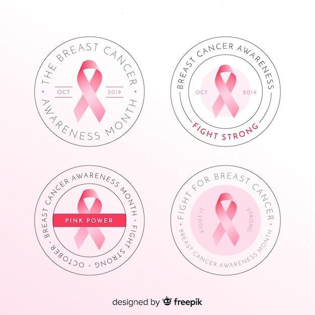 Realistische borstkanker bewustzijn ronde badge collectie Gratis Vector