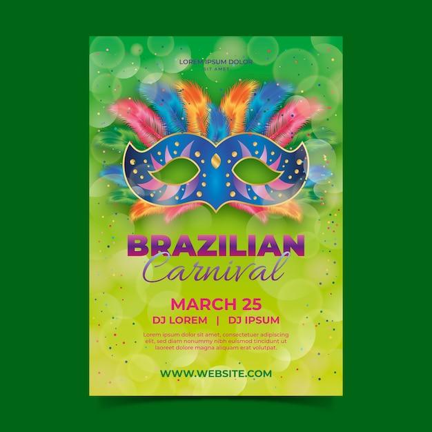Realistische braziliaanse carnaval flyer-sjabloon Gratis Vector