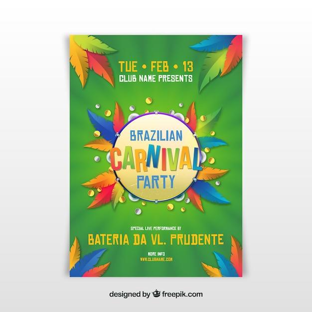 Realistische braziliaanse carnaval partij flyer / poster Gratis Vector