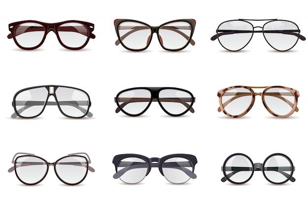 Realistische brillen instellen Gratis Vector