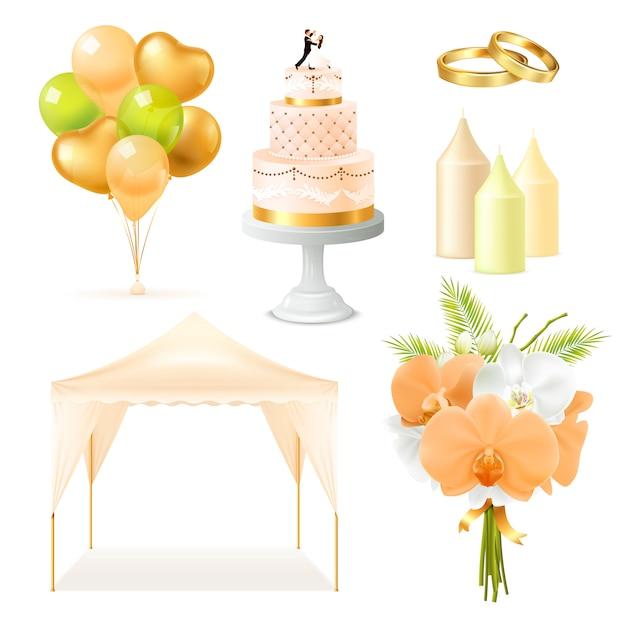 Realistische bruiloft elementen instellen Gratis Vector