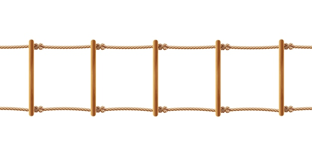 Realistische bruine touwladder geïsoleerd op een witte achtergrond. trap met koorden Gratis Vector