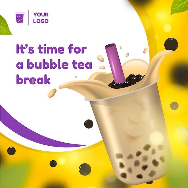 Realistische bubble tea-advertentie Premium Vector