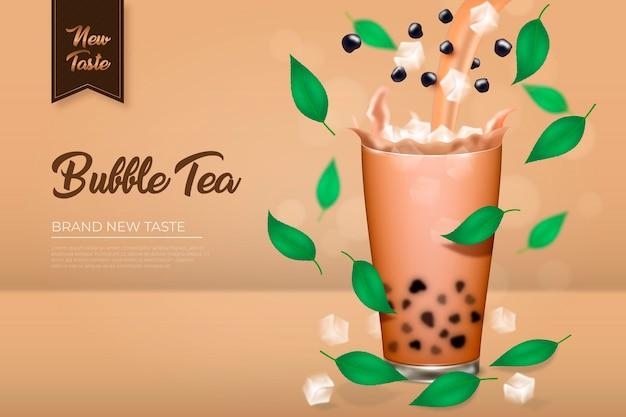 Realistische bubble tea-advertentie Gratis Vector