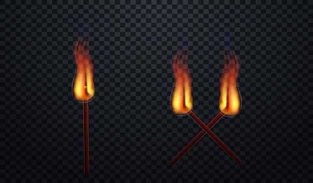 Realistische burning match vector Premium Vector