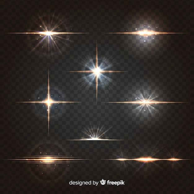 Realistische burst van lichtcollectie Gratis Vector