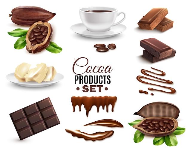 Realistische cacaoproducten instellen Gratis Vector