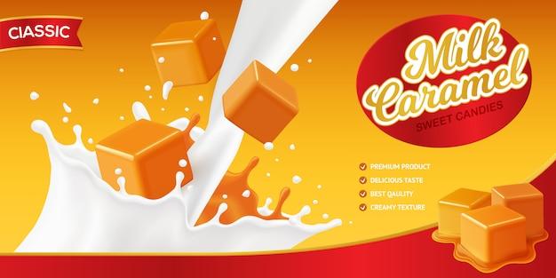 Realistische caramel-postercompositie met bewerkbare merknaam en afbeeldingen van melkspatten en snoepblokjes Gratis Vector