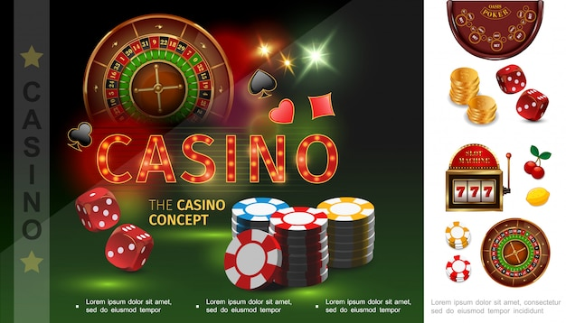 Realistische casinosamenstelling met pokerchips dobbelt speelkaart past bij roulette gouden munten gokautomaat cherry lemon Gratis Vector