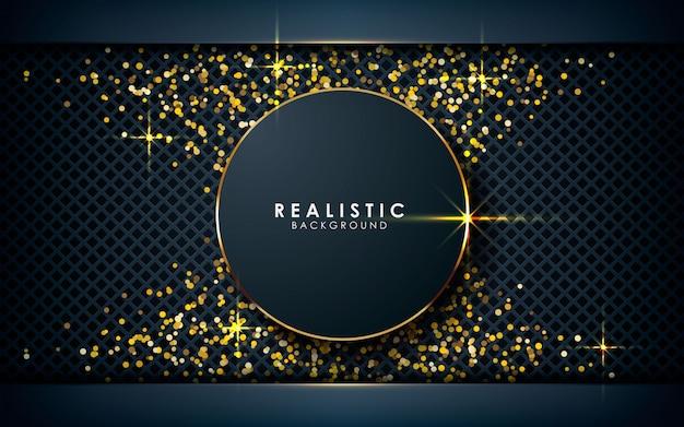 Realistische cirkelafmeting met gouden glitters Premium Vector