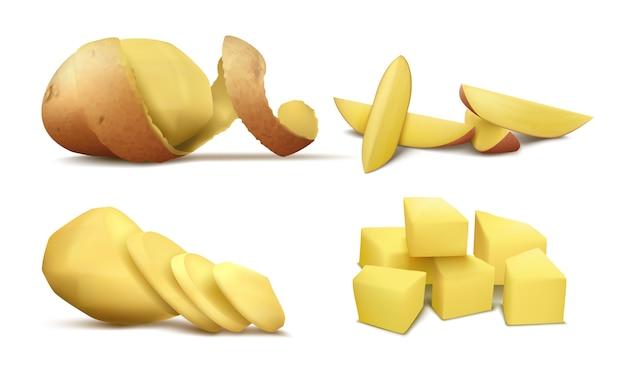 Realistische clipart met rauwe gepelde aardappel, hele groente met bruine spiraalschil en plakjes Gratis Vector
