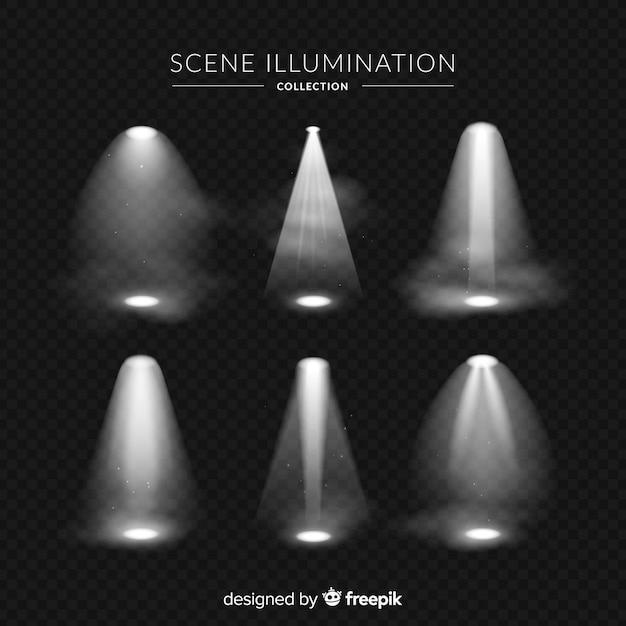 Realistische collectie van scèneverlichting Gratis Vector
