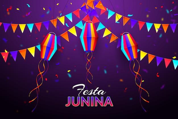 Realistische confetti en slingers van festa junina Gratis Vector
