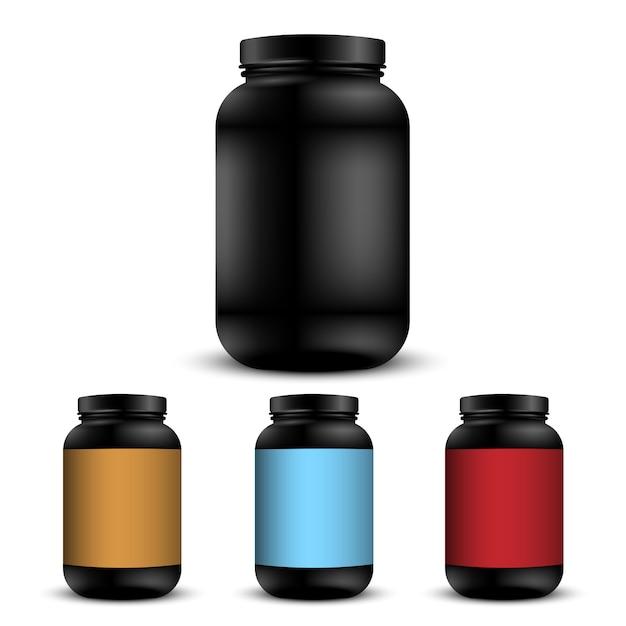 Realistische containers voor sportvoeding Premium Vector