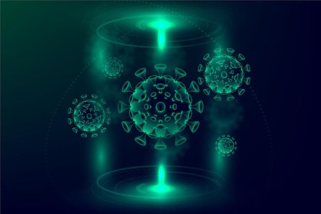 Realistische coronavirus hologram achtergrond Gratis Vector