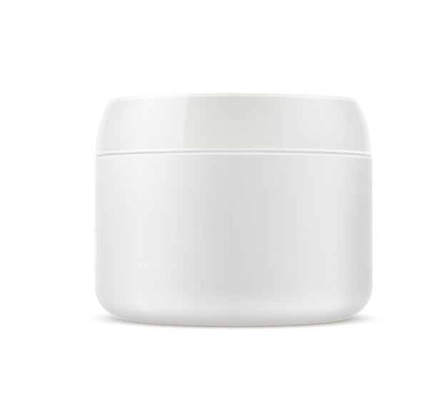 Realistische cosmetica huidverzorgingscrème container. lege schoonheidscrème-pot, make-up, scrublotioncontainer zonder branding. Premium Vector