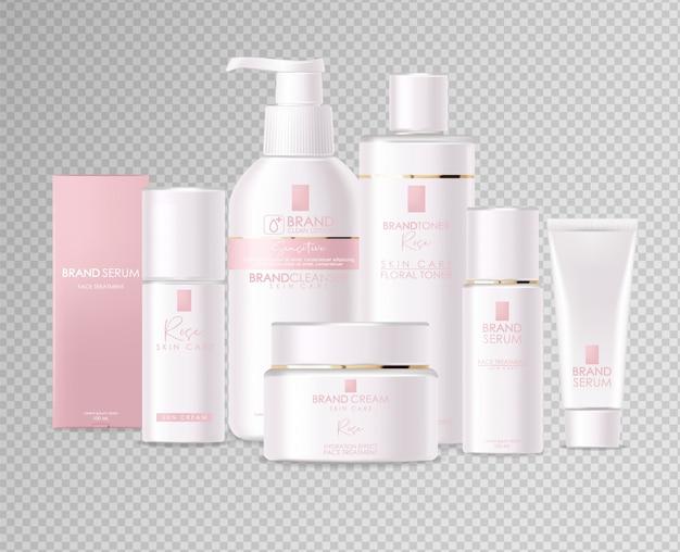 Realistische cosmetica, roze ontwerp, witte fles set, verpakking mockup, huidverzorging, hydratatiecrème, toner, reiniger, serum, schoonheidskaart, gezichtsbehandeling, geïsoleerde container 3d-witte achtergrond Premium Vector