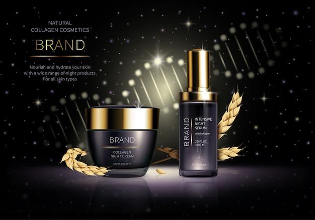 Realistische cosmetica. slimme nachtverzorgingscosmetica met tarwecollageen naast de oren Gratis Vector