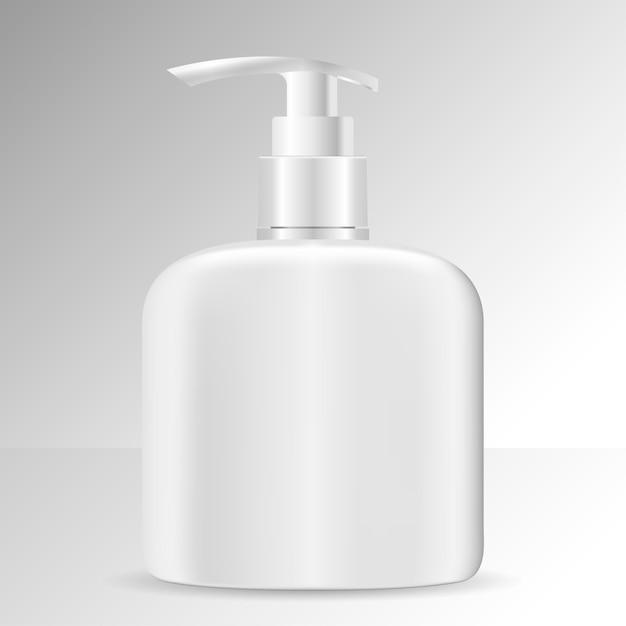 Realistische cosmetische fles. cosmeticapakket zeep Premium Vector