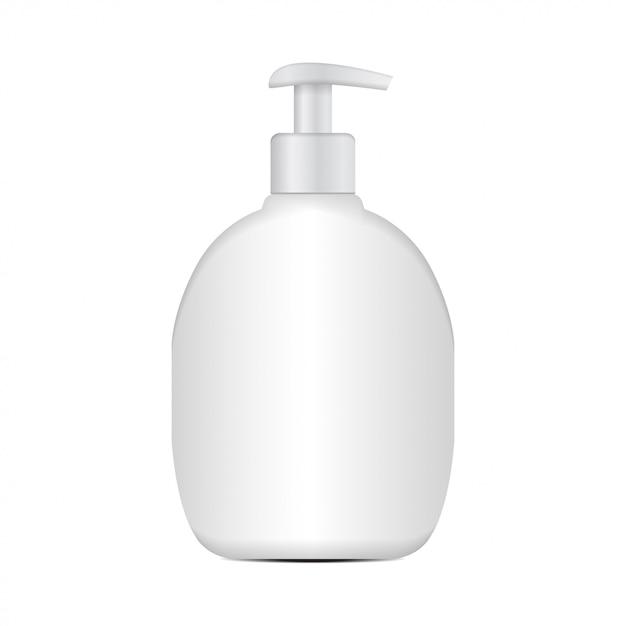 Realistische cosmetische plastic fles. merk sjabloon Premium Vector