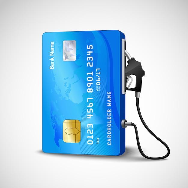 Realistische creditcard met het benzinestationconcept van de brandstofslang Gratis Vector