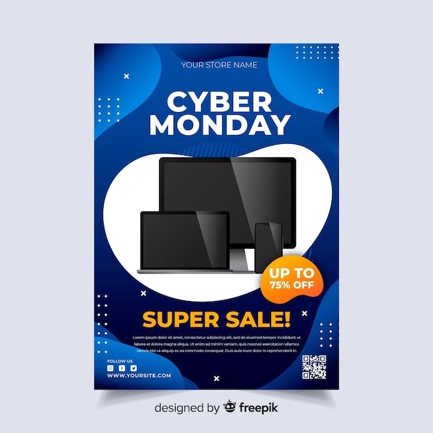 Realistische cyber maandag folder sjabloon Gratis Vector
