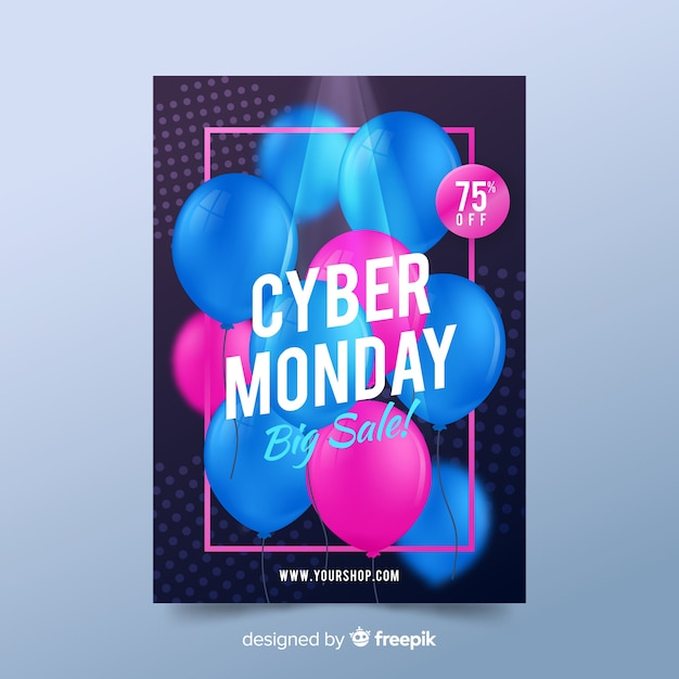 Realistische cyber maandag poster sjabloon Gratis Vector